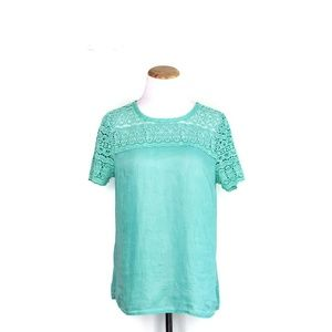 J. Crew Mint Linen Lace Top Size Small